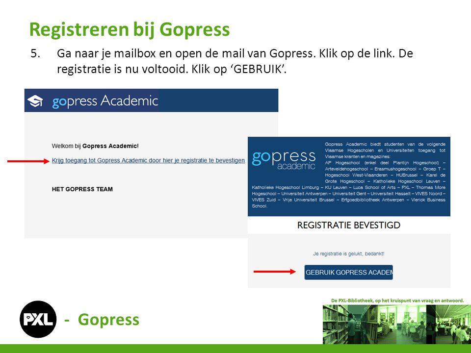 - Gopress 5.Ga naar je mailbox en open de mail van Gopress. Klik op de link. De registratie is nu voltooid. Klik op 'GEBRUIK'. Registreren bij Gopress
