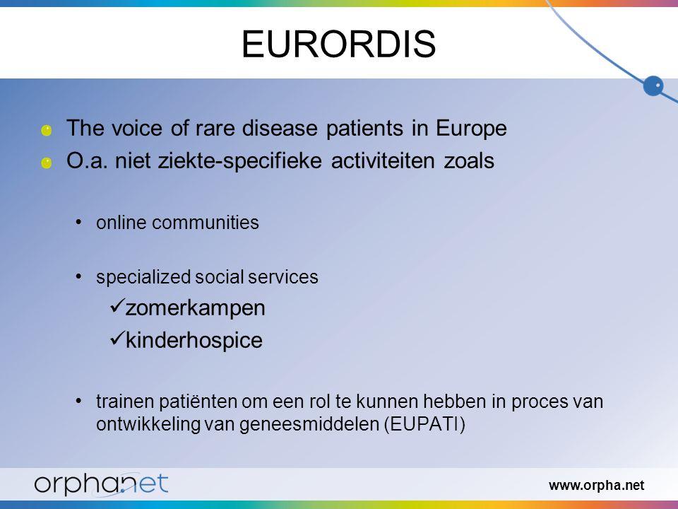 EURORDIS The voice of rare disease patients in Europe O.a. niet ziekte-specifieke activiteiten zoals online communities specialized social services zo
