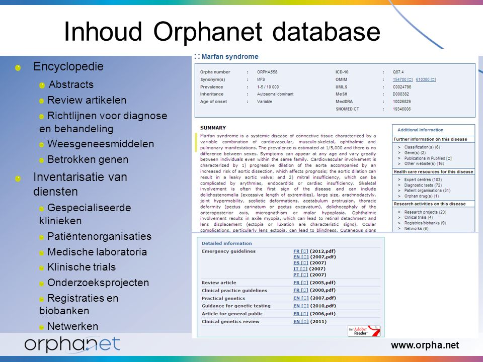www.orpha.net Kiezen èn delen.