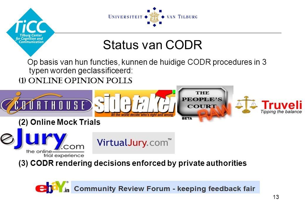 Status van CODR Op basis van hun functies, kunnen de huidige CODR procedures in 3 typen worden geclassificeerd: (1) Online Opinion Polls (2) Online Mock Trials (3) CODR rendering decisions enforced by private authorities 13