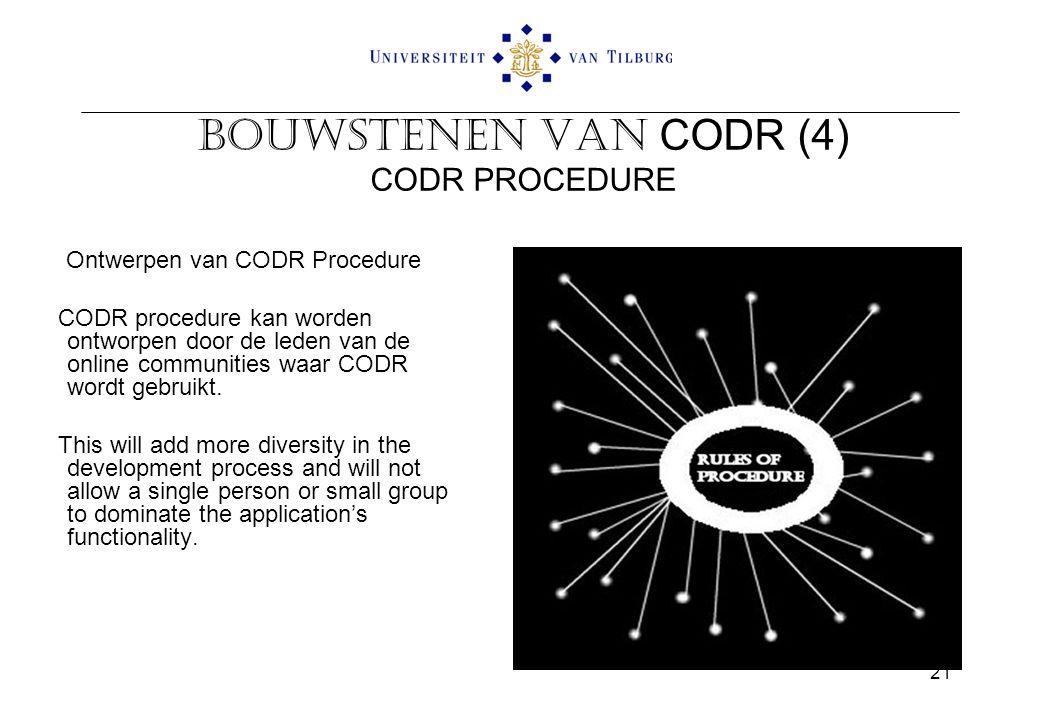 Bouwstenen van CODR (4) CODR PROCEDURE Ontwerpen van CODR Procedure CODR procedure kan worden ontworpen door de leden van de online communities waar CODR wordt gebruikt.