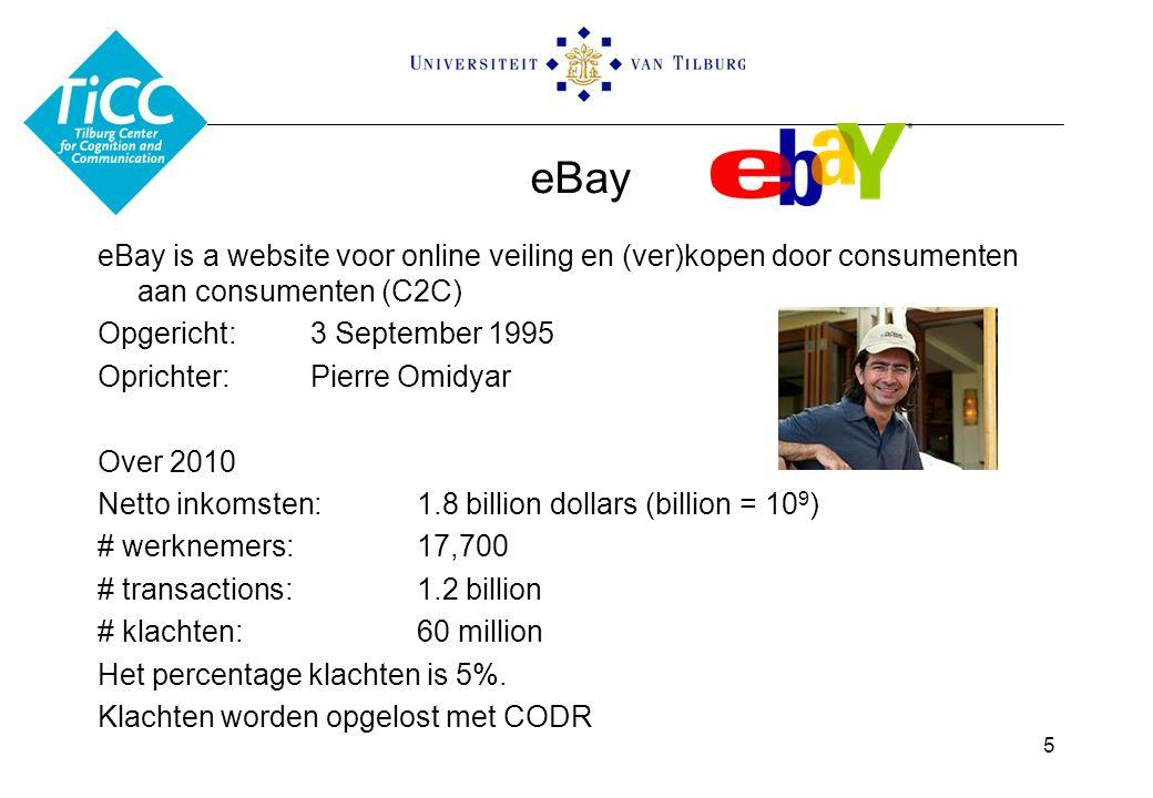 eBay eBay is a website voor online veiling en (ver)kopen door consumenten aan consumenten (C2C) Opgericht: 3 September 1995 Oprichter:Pierre Omidyar Over 2010 Netto inkomsten:1.8 billion dollars (billion = 10 9 ) # werknemers:17,700 # transactions:1.2 billion # klachten:60 million Het percentage klachten is 5%.