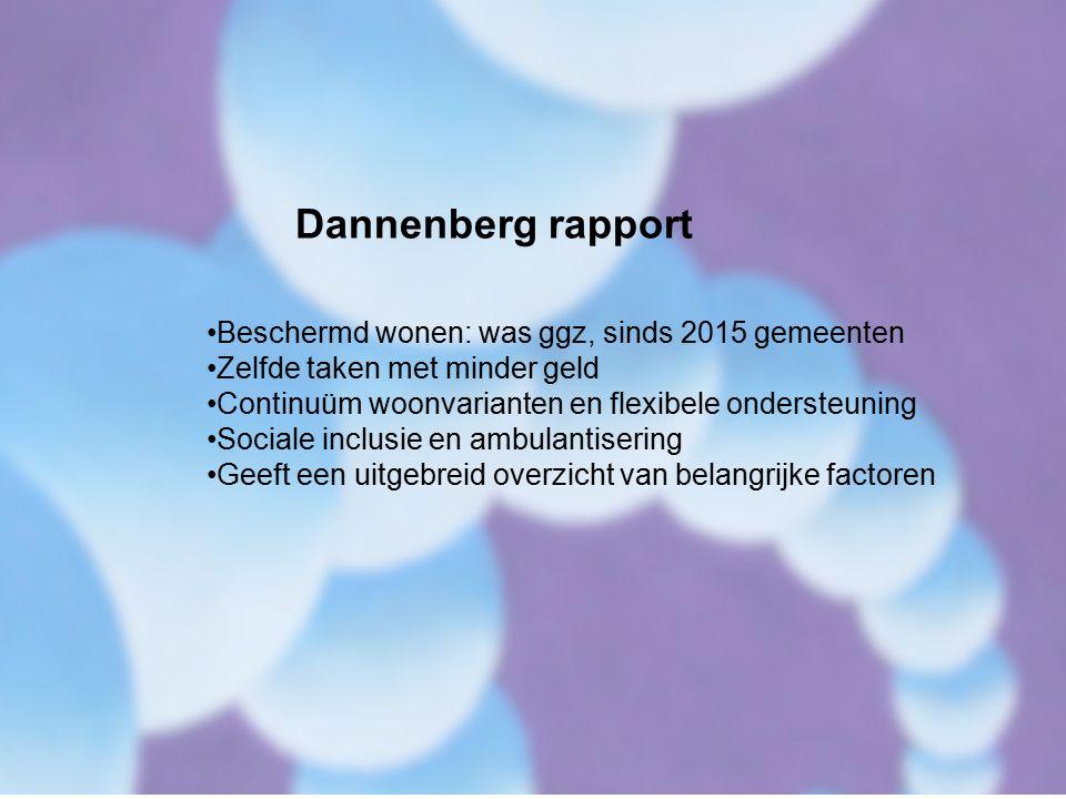 Dannenberg rapport Beschermd wonen: was ggz, sinds 2015 gemeenten Zelfde taken met minder geld Continuüm woonvarianten en flexibele ondersteuning Sociale inclusie en ambulantisering Geeft een uitgebreid overzicht van belangrijke factoren