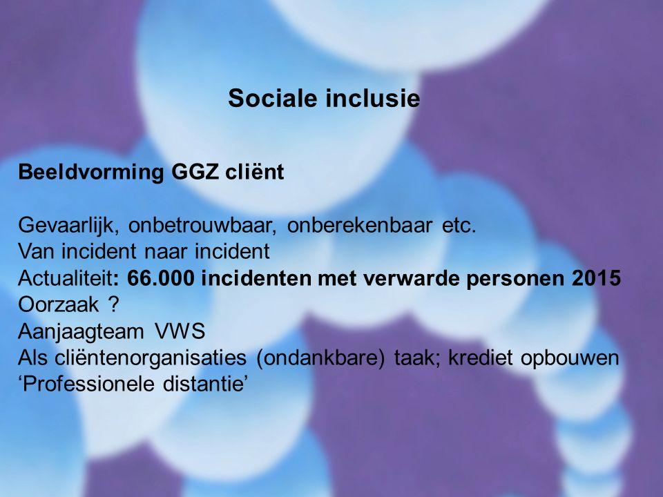 Sociale inclusie Beeldvorming GGZ cliënt Gevaarlijk, onbetrouwbaar, onberekenbaar etc.