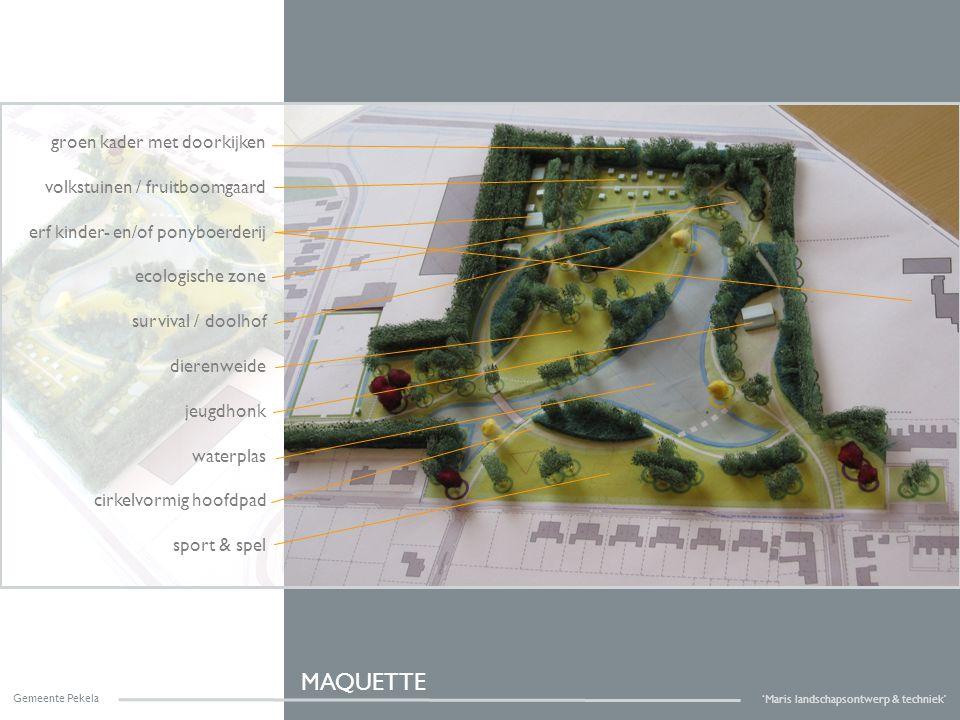 Gemeente Pekela 'Maris landschapsontwerp & techniek' groen kader met doorkijken volkstuinen / fruitboomgaard erf kinder- en/of ponyboerderij ecologisc