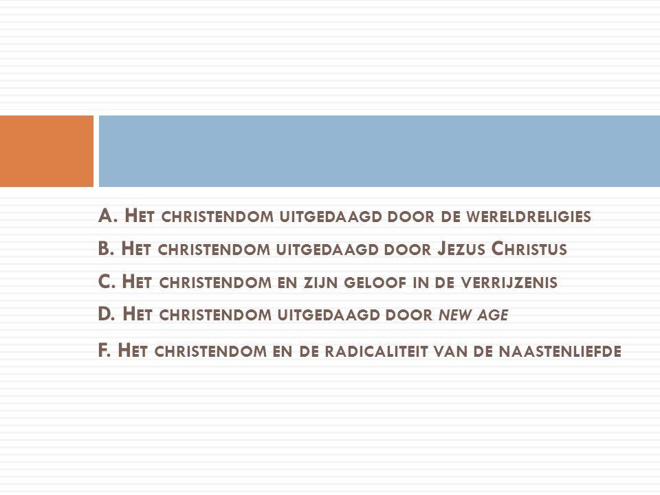 A. H ET CHRISTENDOM UITGEDAAGD DOOR DE WERELDRELIGIES B. H ET CHRISTENDOM UITGEDAAGD DOOR J EZUS C HRISTUS C. H ET CHRISTENDOM EN ZIJN GELOOF IN DE VE