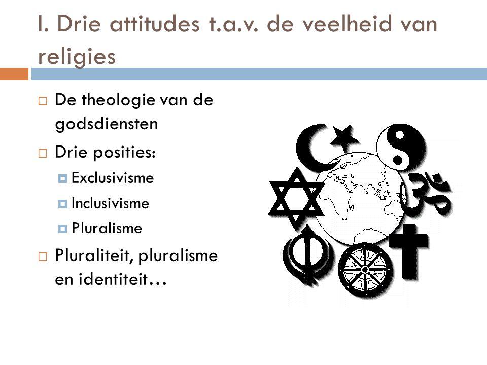 I. Drie attitudes t.a.v. de veelheid van religies  De theologie van de godsdiensten  Drie posities:  Exclusivisme  Inclusivisme  Pluralisme  Plu
