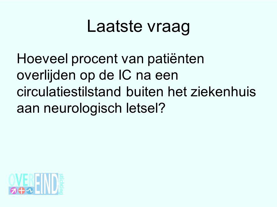 Laatste vraag Hoeveel procent van patiënten overlijden op de IC na een circulatiestilstand buiten het ziekenhuis aan neurologisch letsel