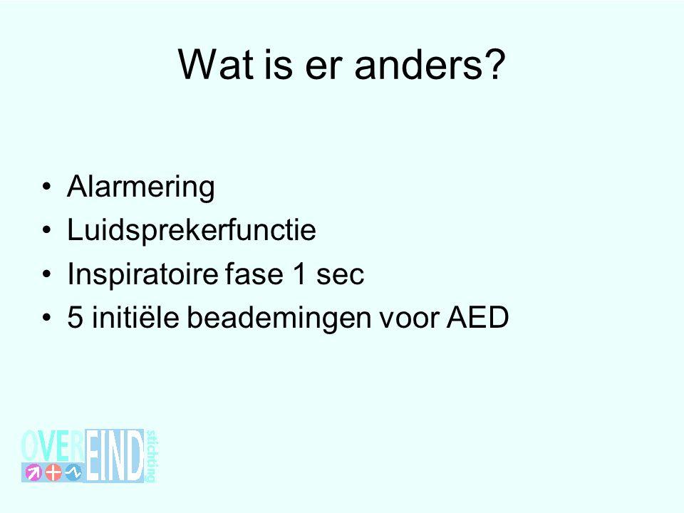 Wat is er anders? Alarmering Luidsprekerfunctie Inspiratoire fase 1 sec 5 initiële beademingen voor AED