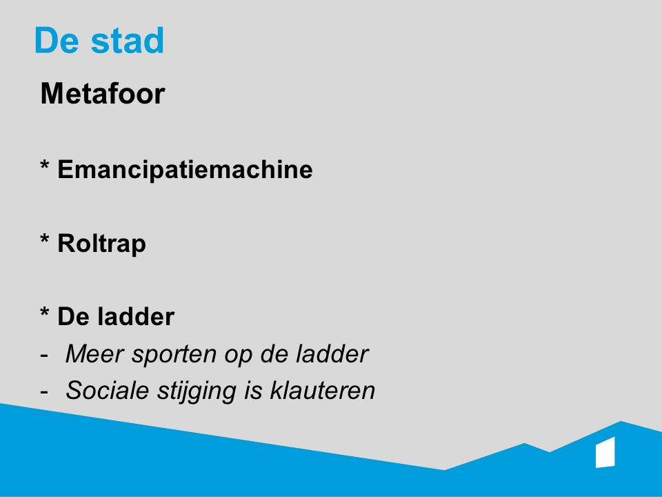 De stad Metafoor * Emancipatiemachine * Roltrap * De ladder -Meer sporten op de ladder -Sociale stijging is klauteren
