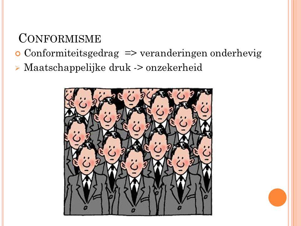 C ONFORMISME Conformiteitsgedrag => veranderingen onderhevig  Maatschappelijke druk -> onzekerheid