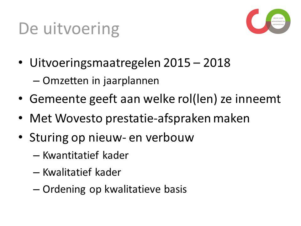 De uitvoering Uitvoeringsmaatregelen 2015 – 2018 – Omzetten in jaarplannen Gemeente geeft aan welke rol(len) ze inneemt Met Wovesto prestatie-afspraken maken Sturing op nieuw- en verbouw – Kwantitatief kader – Kwalitatief kader – Ordening op kwalitatieve basis