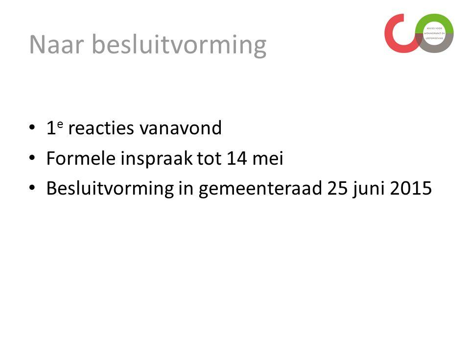 1 e reacties vanavond Formele inspraak tot 14 mei Besluitvorming in gemeenteraad 25 juni 2015