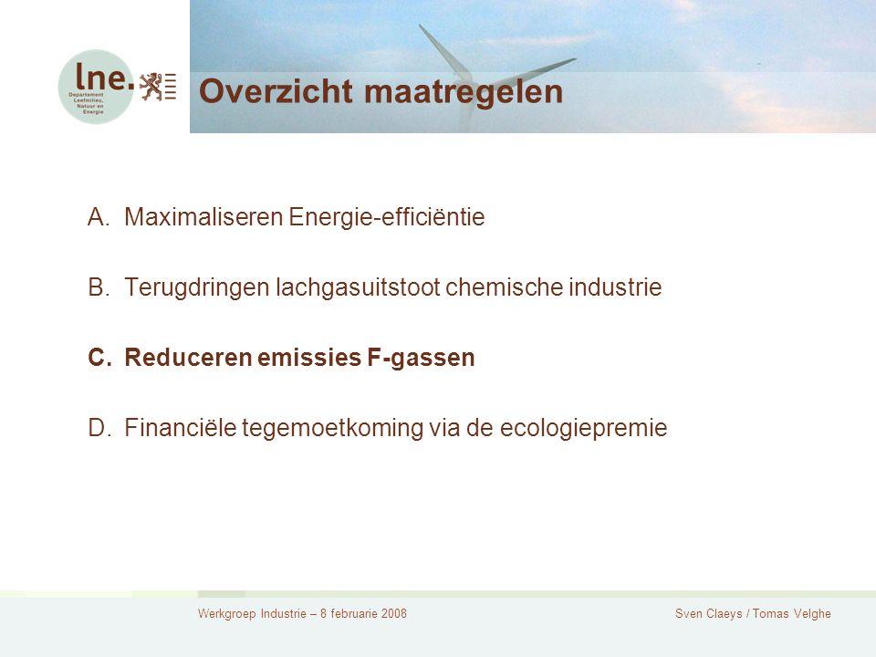 Werkgroep Industrie – 8 februarie 2008Sven Claeys / Tomas Velghe Overzicht maatregelen A.Maximaliseren Energie-efficiëntie B.Terugdringen lachgasuitstoot chemische industrie C.Reduceren emissies F-gassen D.Financiële tegemoetkoming via de ecologiepremie