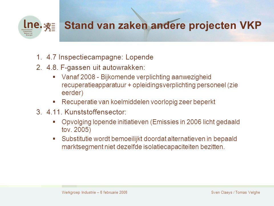 Werkgroep Industrie – 8 februarie 2008Sven Claeys / Tomas Velghe Stand van zaken andere projecten VKP 1.4.7 Inspectiecampagne: Lopende 2.4.8.