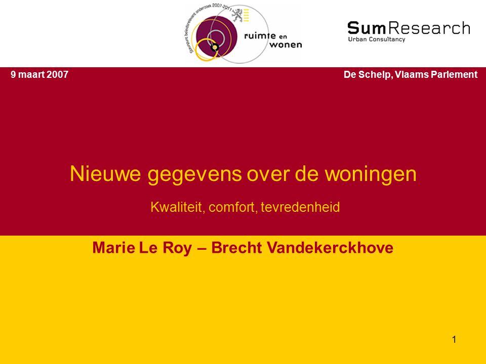 9 maart 2007De Schelp, Vlaams Parlement Nieuwe gegevens over de woningen Kwaliteit, comfort, tevredenheid Marie Le Roy – Brecht Vandekerckhove 1