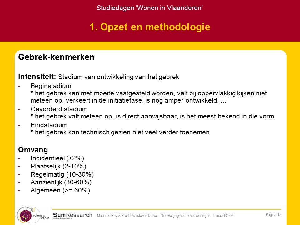 Studiedagen 'Wonen in Vlaanderen' Pagina 12 Marie Le Roy & Brecht Vandekerckhove - Nieuwe gegevens over woningen - 9 maart 2007 1.