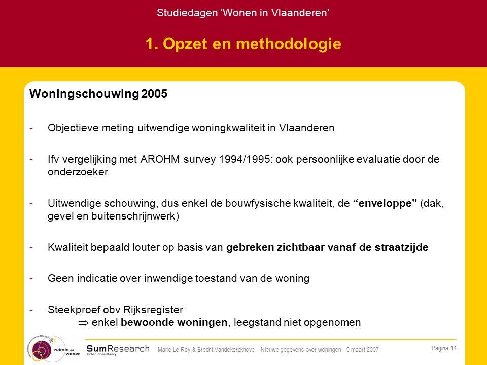 Studiedagen 'Wonen in Vlaanderen' Pagina 14 Marie Le Roy & Brecht Vandekerckhove - Nieuwe gegevens over woningen - 9 maart 2007 1.
