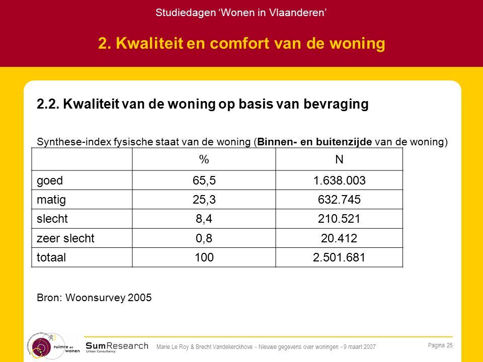 Studiedagen 'Wonen in Vlaanderen' Pagina 25 Marie Le Roy & Brecht Vandekerckhove - Nieuwe gegevens over woningen - 9 maart 2007 2.