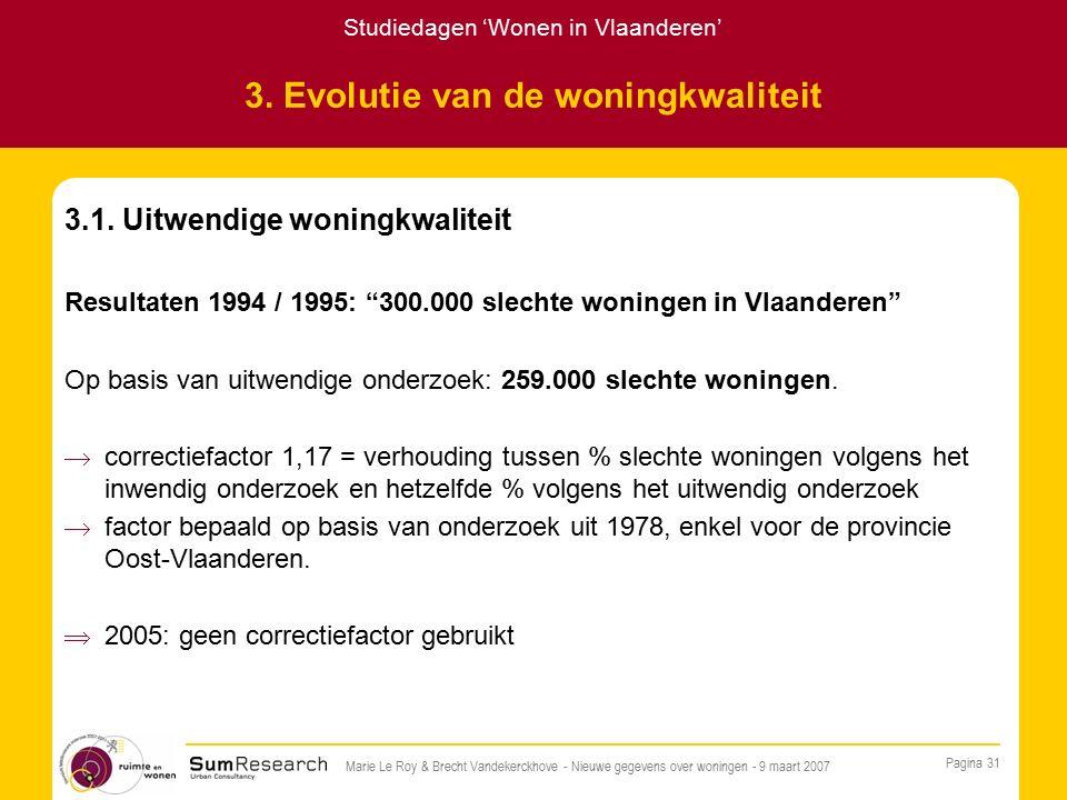 Studiedagen 'Wonen in Vlaanderen' Pagina 31 Marie Le Roy & Brecht Vandekerckhove - Nieuwe gegevens over woningen - 9 maart 2007 3.