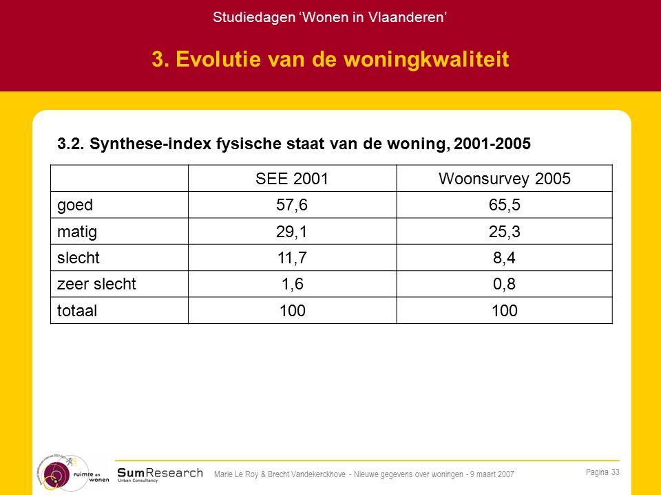 Studiedagen 'Wonen in Vlaanderen' Pagina 33 Marie Le Roy & Brecht Vandekerckhove - Nieuwe gegevens over woningen - 9 maart 2007 3.