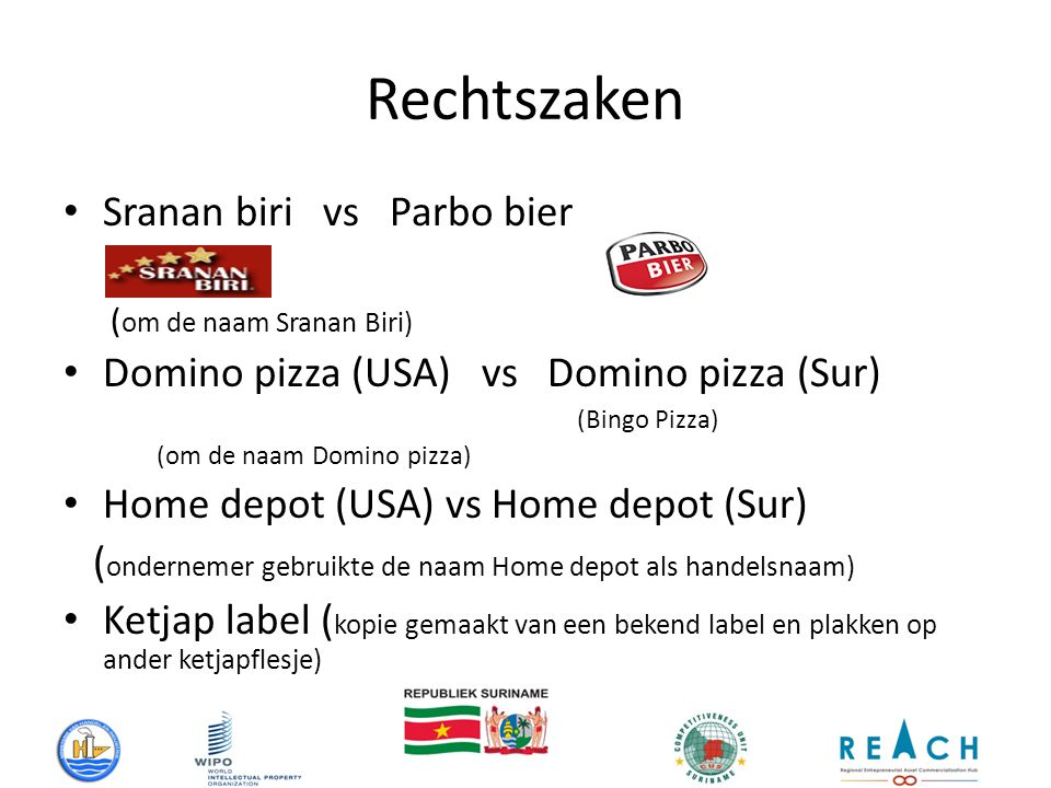 Rechtszaken Sranan biri vs Parbo bier ( om de naam Sranan Biri) Domino pizza (USA) vs Domino pizza (Sur) (Bingo Pizza) (om de naam Domino pizza) Home