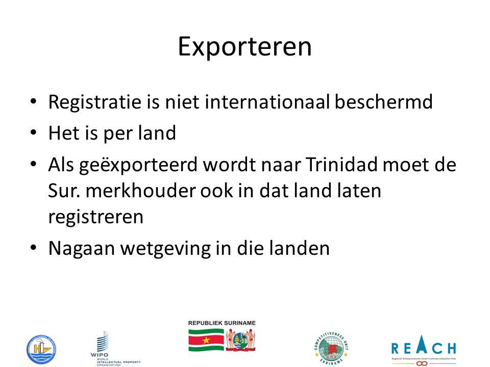 Exporteren Registratie is niet internationaal beschermd Het is per land Als geëxporteerd wordt naar Trinidad moet de Sur.