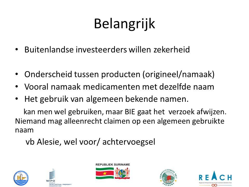 Belangrijk Buitenlandse investeerders willen zekerheid Onderscheid tussen producten (origineel/namaak) Vooral namaak medicamenten met dezelfde naam Het gebruik van algemeen bekende namen.