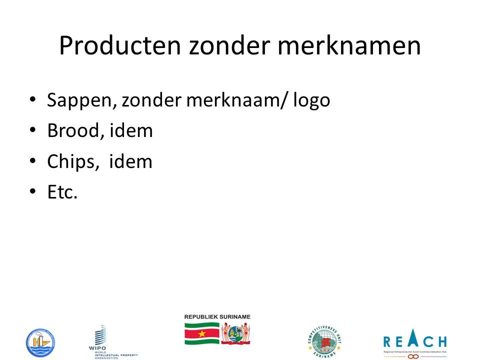 Producten zonder merknamen Sappen, zonder merknaam/ logo Brood, idem Chips, idem Etc.