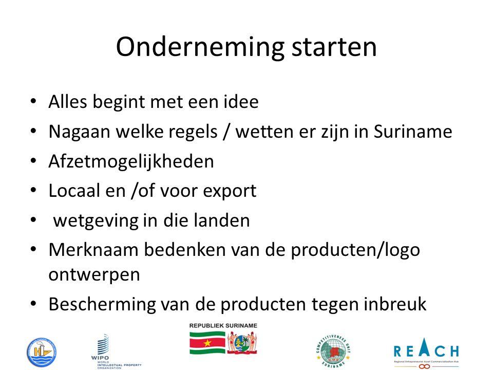 Onderneming starten Alles begint met een idee Nagaan welke regels / wetten er zijn in Suriname Afzetmogelijkheden Locaal en /of voor export wetgeving in die landen Merknaam bedenken van de producten/logo ontwerpen Bescherming van de producten tegen inbreuk