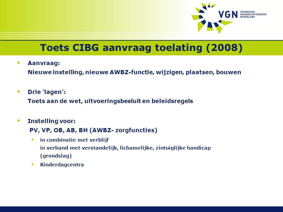 Toets CIBG aanvraag toelating (2008)  Aanvraag: Nieuwe instelling, nieuwe AWBZ-functie, wijzigen, plaatsen, bouwen  Drie 'lagen': Toets aan de wet,