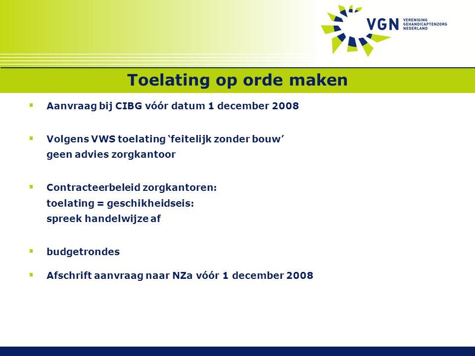 Toelating op orde maken  Aanvraag bij CIBG vóór datum 1 december 2008  Volgens VWS toelating 'feitelijk zonder bouw' geen advies zorgkantoor  Contr