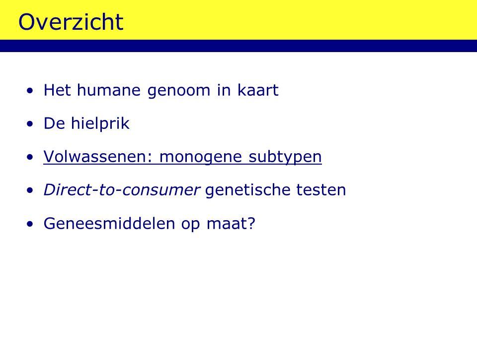 Overzicht Het humane genoom in kaart De hielprik Volwassenen: monogene subtypen Direct-to-consumer genetische testen Geneesmiddelen op maat?