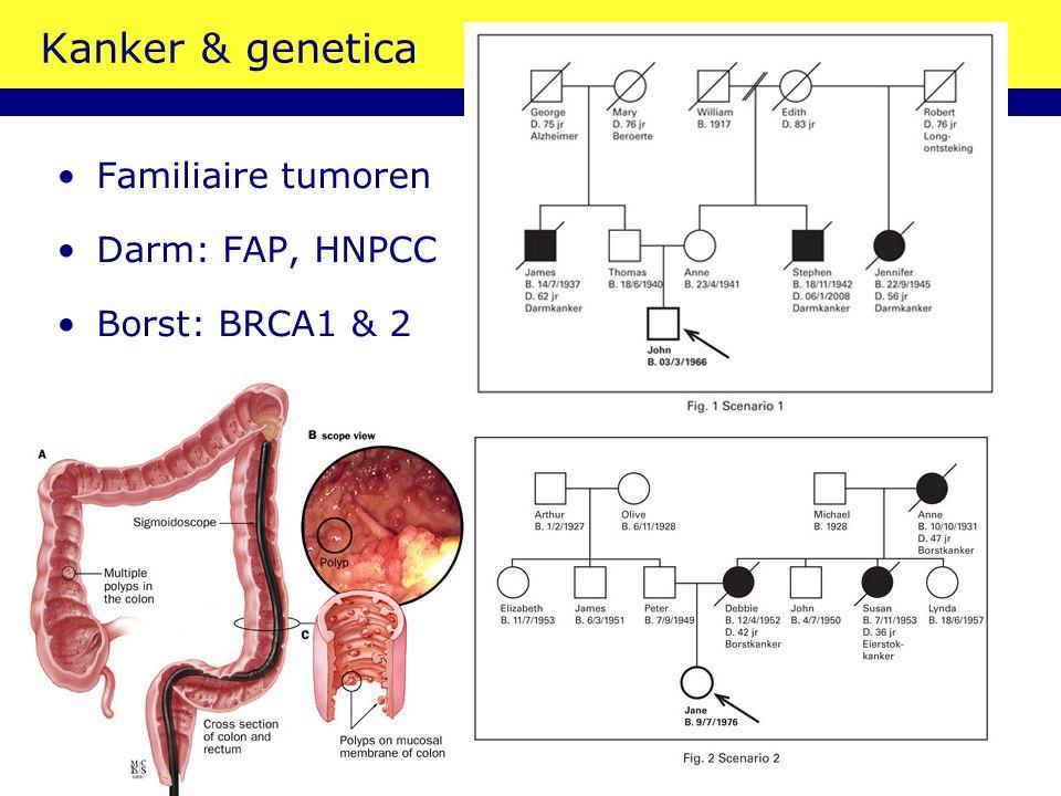 Kanker & genetica Familiaire tumoren Darm: FAP, HNPCC Borst: BRCA1 & 2