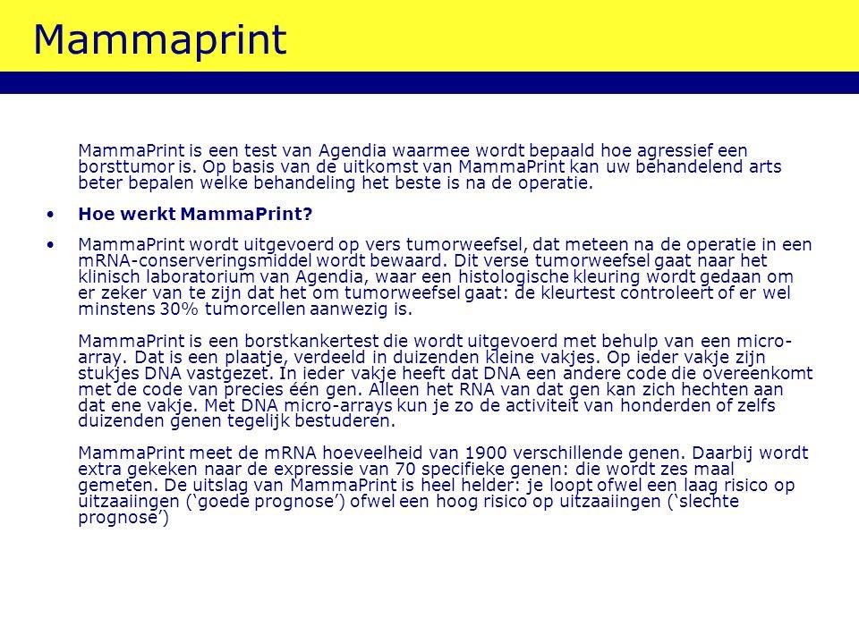 Mammaprint MammaPrint is een test van Agendia waarmee wordt bepaald hoe agressief een borsttumor is. Op basis van de uitkomst van MammaPrint kan uw be