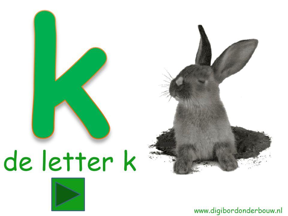 Konijn begint met de letter k.Zie jij nog een woord dat begint met de letter k.