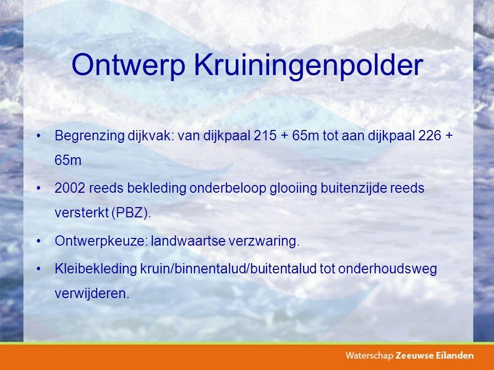 Ontwerp Kruiningenpolder Begrenzing dijkvak: van dijkpaal 215 + 65m tot aan dijkpaal 226 + 65m 2002 reeds bekleding onderbeloop glooiing buitenzijde reeds versterkt (PBZ).