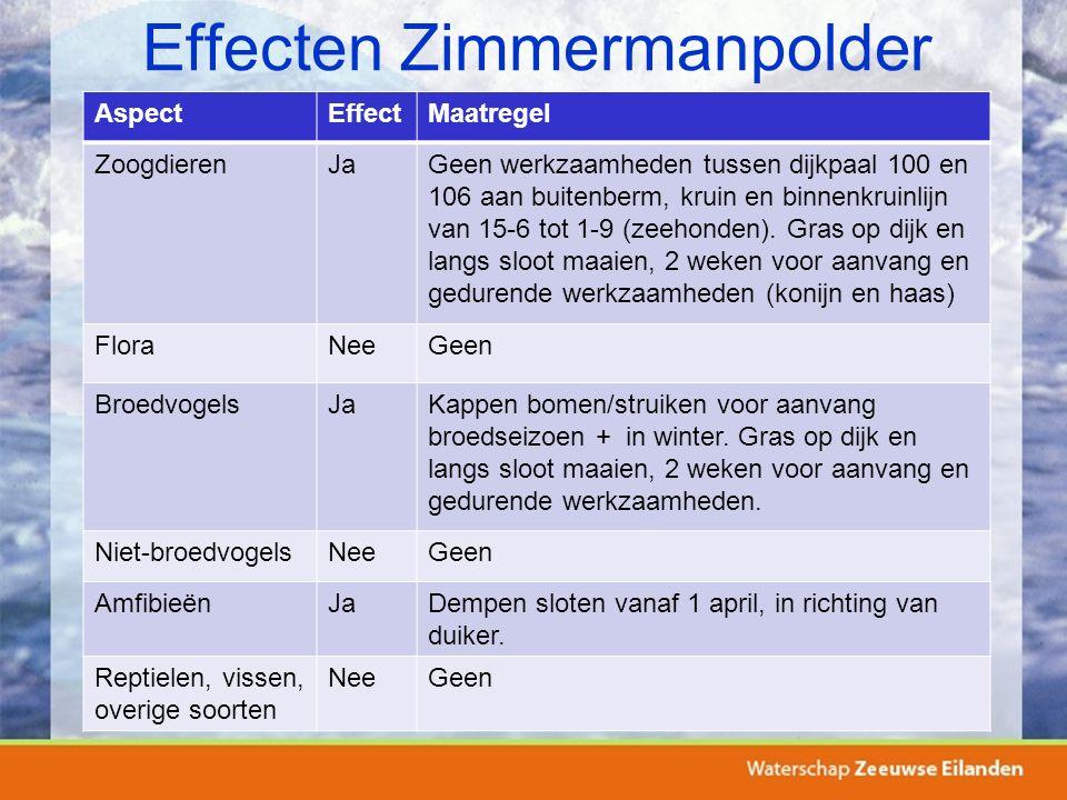 Effecten Zimmermanpolder AspectEffectMaatregel ZoogdierenJaGeen werkzaamheden tussen dijkpaal 100 en 106 aan buitenberm, kruin en binnenkruinlijn van 15-6 tot 1-9 (zeehonden).