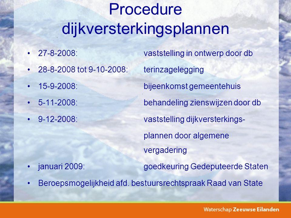 Procedure dijkversterkingsplannen 27-8-2008:vaststelling in ontwerp door db 28-8-2008 tot 9-10-2008:terinzagelegging 15-9-2008:bijeenkomst gemeentehui