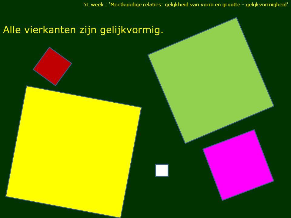 Alle vierkanten zijn gelijkvormig. 5L week : 'Meetkundige relaties: gelijkheid van vorm en grootte - gelijkvormigheid'