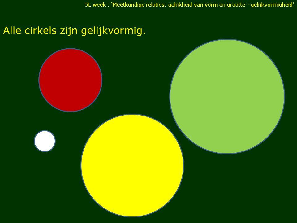 Alle cirkels zijn gelijkvormig. 5L week : 'Meetkundige relaties: gelijkheid van vorm en grootte - gelijkvormigheid'
