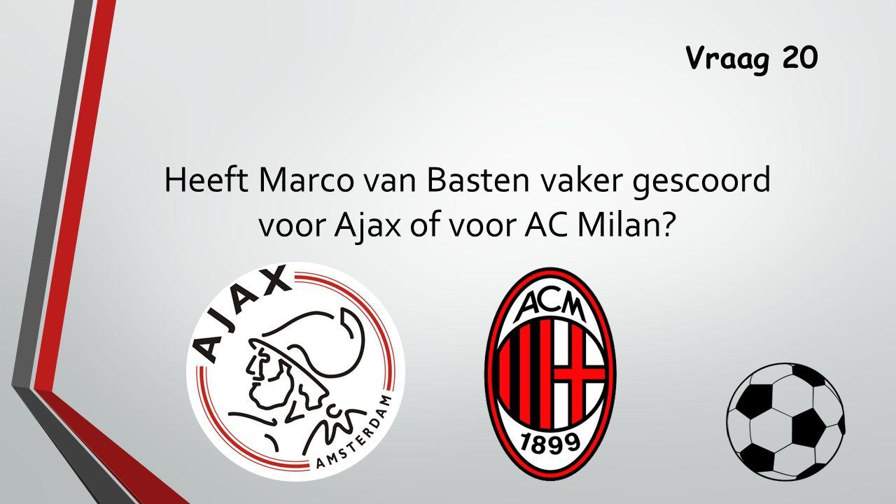 Vraag 20 Heeft Marco van Basten vaker gescoord voor Ajax of voor AC Milan