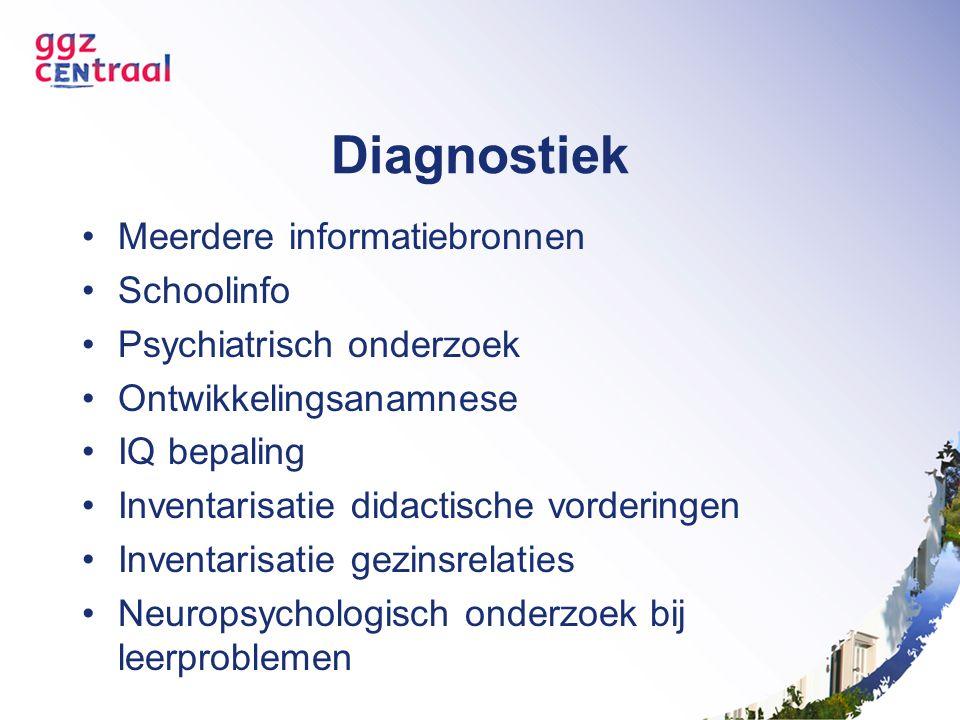 Diagnostiek Meerdere informatiebronnen Schoolinfo Psychiatrisch onderzoek Ontwikkelingsanamnese IQ bepaling Inventarisatie didactische vorderingen Inventarisatie gezinsrelaties Neuropsychologisch onderzoek bij leerproblemen