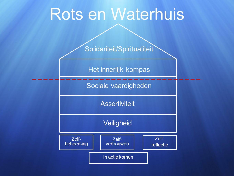 Rots en Waterhuis Zelf- vertrouwen Zelf- beheersing Zelf- reflectie Veiligheid Assertiviteit Sociale vaardigheden Het innerlijk kompas Solidariteit/Spiritualiteit In actie komen