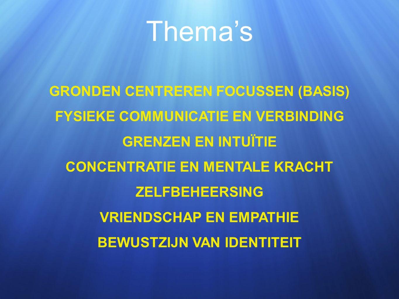 Thema's GRONDEN CENTREREN FOCUSSEN (BASIS) FYSIEKE COMMUNICATIE EN VERBINDING GRENZEN EN INTUÏTIE CONCENTRATIE EN MENTALE KRACHT ZELFBEHEERSING VRIENDSCHAP EN EMPATHIE BEWUSTZIJN VAN IDENTITEIT
