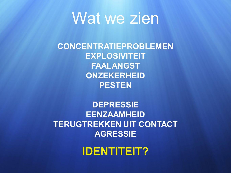 CONCENTRATIEPROBLEMEN EXPLOSIVITEIT FAALANGST ONZEKERHEID PESTEN DEPRESSIE EENZAAMHEID TERUGTREKKEN UIT CONTACT AGRESSIE Wat we zien IDENTITEIT