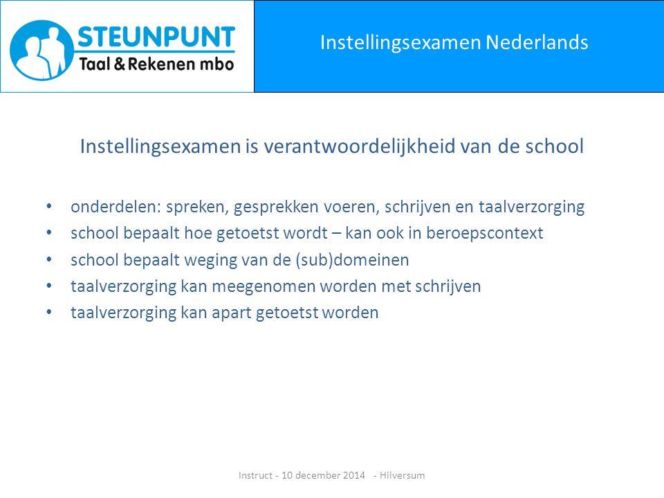 Website www.steunpunttaalenrekenenmbo.nl Instruct - 10 december 2014 - Hilversum