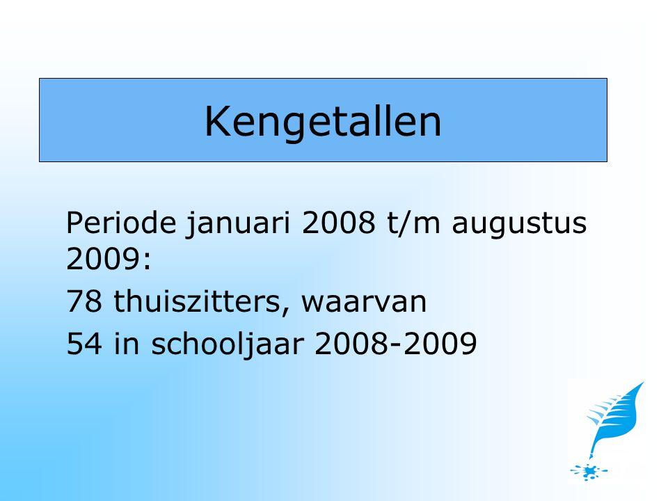 Periode januari 2008 t/m augustus 2009: 78 thuiszitters, waarvan 54 in schooljaar 2008-2009 Kengetallen