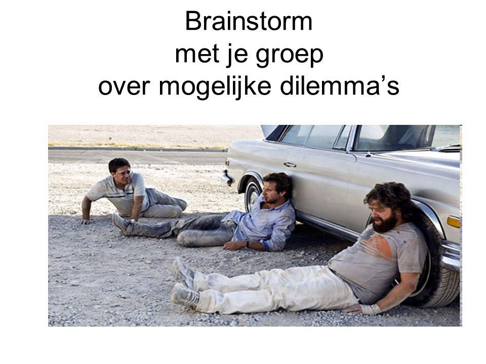 Brainstorm met je groep over mogelijke dilemma's