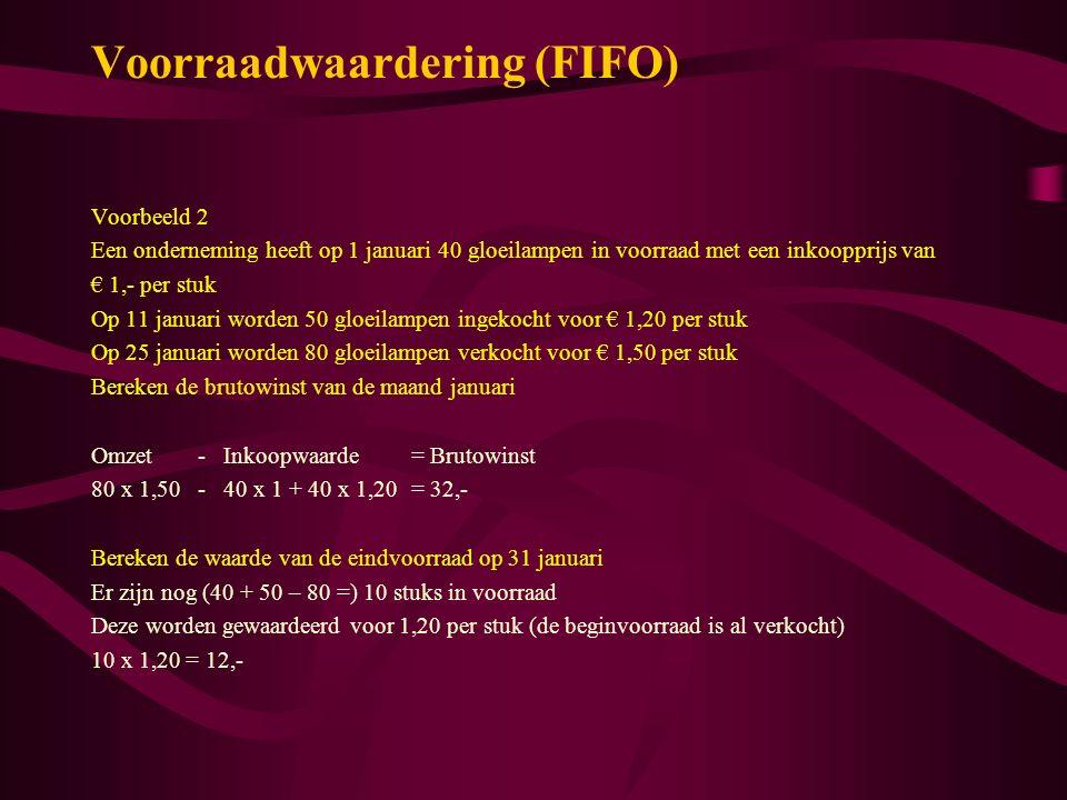 Voorraadwaardering (FIFO) Voorbeeld 2 Een onderneming heeft op 1 januari 40 gloeilampen in voorraad met een inkoopprijs van € 1,- per stuk Op 11 janua